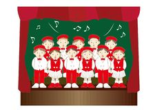 Children chorus group - Christmas music events vector illustration