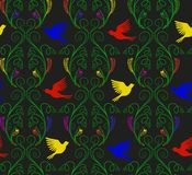 Vector illustration of imaginary nature plants and colorful flying birds seamless pattern. Vector illustration of imaginary curly nature plants and flying birds Stock Photography