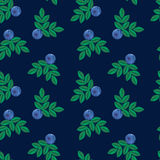 Vector illustration, imitation of embroidery. blue forest summer Royalty Free Stock Photos