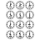Watches icons set 2. Vector illustration, increments from 1 to 12, one hour interval, 4 rows and 3 columns on white background, for business or education Stock Images