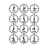 Watches icons set 1. Vector illustration, increments from 1 to 12, one hour interval, 4 rows and 3 columns on white background, for business or education Royalty Free Stock Image