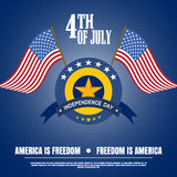 Vector illustration of Independence Day with badge, flags, stripe and star on a dark blue background. Vector illustration of Indep Stock Photography