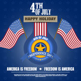 Vector illustration of Independence Day with badge, flags, stripe and star. Independence Day 4th of july - Happy celebration. Royalty Free Stock Images