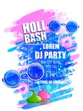 India Festival of Color Happy Holi DJ Party background. Vector illustration of India Festival of Color Happy Holi DJ Party background Stock Photos