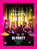 India Festival of Color Happy Holi DJ Party background. Vector illustration of India Festival of Color Happy Holi DJ Party background Stock Images