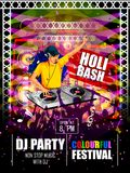 India Festival of Color Happy Holi DJ Party background Royalty Free Stock Photography
