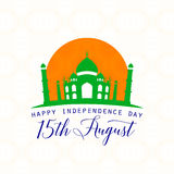 Vector illustration of India Independence Day 15th August. Creative style felicitation card for indian people with sign, Taj Mahal on seamless wheel background Vector Illustration