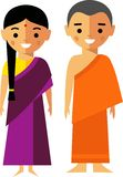 Vector illustration of india monk and woman. Set of  indian woman and man  dressed in national costumes Stock Image