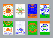 Vector illustration of Indian independence day backgrounds collection. Greeting India patriotism celebration patterns Royalty Free Stock Photo