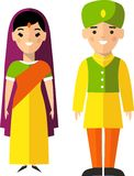 Vector illustration of indian male and female. Set of  indianese male and female dressed in national costumes Royalty Free Stock Photo
