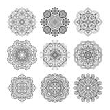 Vector illustration of indian mandalas. Old asian and arabic round texture isolate on white background Royalty Free Stock Photos