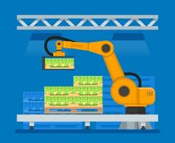 Vector illustration of industrial robots for palletizing food products Stock Photos