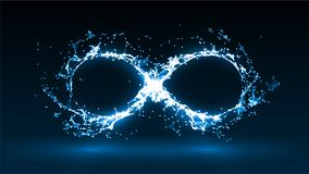 Vector illustration of infinity symbol. With energy particles Stock Photo