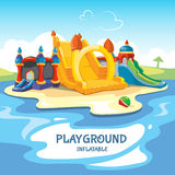 Vector illustration of inflatable castles and children hills on playground Stock Photography