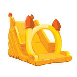 Vector illustration of inflatable castles and children hills on playground Royalty Free Stock Photos