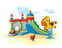 Vector illustration of inflatable castles and children hills on playground Royalty Free Stock Image