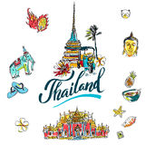 A vector illustration of Info graphic elements for traveling to Thailand, Royalty Free Stock Images