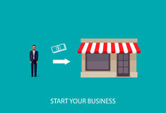 Vector illustration of an infographic business concept. businessman starts his own business. startup concept Stock Photography