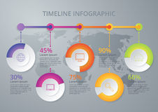Vector illustration infographic timeline of five options Royalty Free Stock Photo