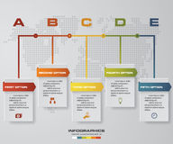 Vector illustration infographic timeline of 5 options. Royalty Free Stock Photos