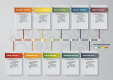 Vector illustration infographic timeline of 10 options. Stock Image