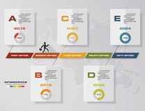 Vector illustration infographic timeline of 5 options. Stock Photo
