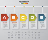 Vector illustration infographic timeline of 5 options. Royalty Free Stock Photo