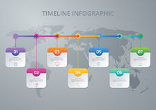 Vector illustration infographic timeline of seven options Stock Photos