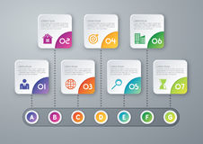 Vector illustration infographic timeline of seven options Stock Image
