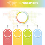 Vector illustration of the infographics with the dotted world map with the four circles with steps Stock Photos
