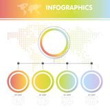 Vector illustration of the infographics with the dotted world map with the four circles with steps Stock Image