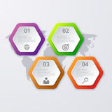 Vector illustration infographics four hexagon Royalty Free Stock Photography