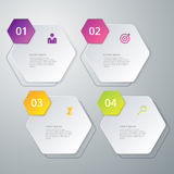 Vector illustration infographics four hexagon Stock Photos