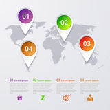 Vector illustration infographics four marks on the map Royalty Free Stock Images