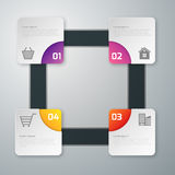Vector illustration infographics four paper square with rounded corners Royalty Free Stock Photo