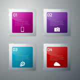 Vector illustration infographics glass squares with rounded corn Royalty Free Stock Images