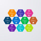 Vector illustration of infographics hexagons Stock Photos