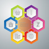 Vector illustration infographics hexagons connected puzzle Royalty Free Stock Photo