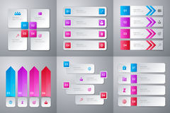 Vector illustration infographics . Set of six colorful templates Stock Image