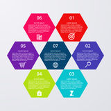 Vector illustration infographics seven hexagons Stock Images