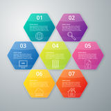 Vector illustration infographics seven hexagons Stock Image