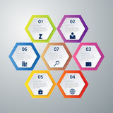 Vector illustration infographics seven hexagons Royalty Free Stock Images
