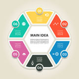 Vector illustration infographics six options. Template for brochure, business, web design Royalty Free Stock Image