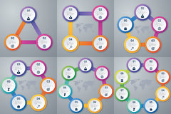 Vector illustration infographics three, four , five, six , seven and eight options Royalty Free Stock Photo