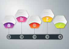 Vector illustration infographics timeline . Paper hexagons Stock Images
