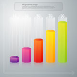 Vector illustration infographics vertical columns hexagons Stock Photos