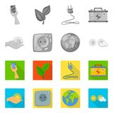 Vector illustration of innovation and technology  symbol. Collection of innovation and nature  vector icon for stock. Isolated object of innovation and vector illustration