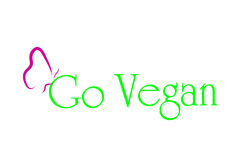 Vector illustration inscription go vegan. Royalty Free Stock Photos
