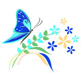 Vector illustration of insect, blue butterfly, flowers and branches with leaves, isolated on the white background Stock Photo