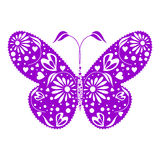 Vector illustration of insect, blue decorative butterfly, isolated on the white background Stock Image
